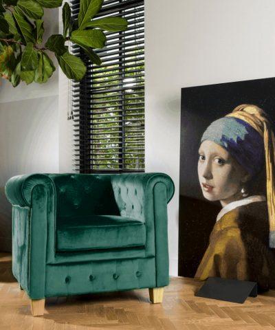 Chesterfield malibu fauteuil donker groen sfeer