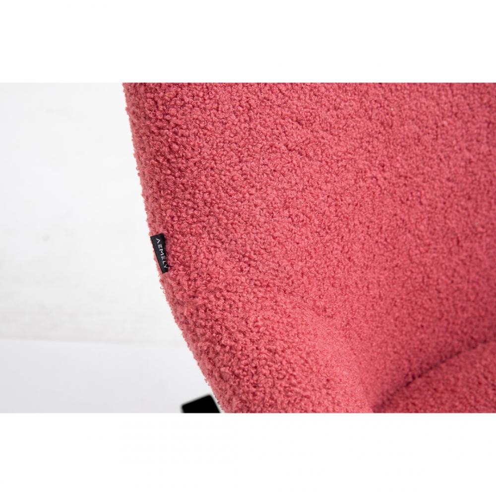 Aemely Schommelstoel Papa roze kunstschapenstof zwarte poten