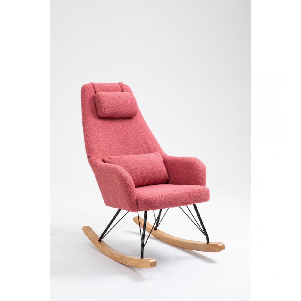 Aemely schommelstoel papa roze kunstschapenstof