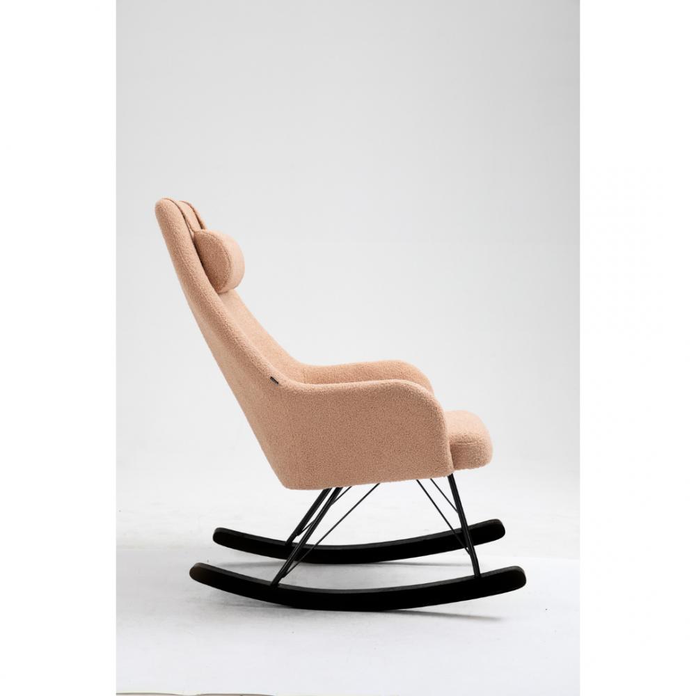 Aemely Schommelstoel beige roze kunstschapenstof zwarte poten