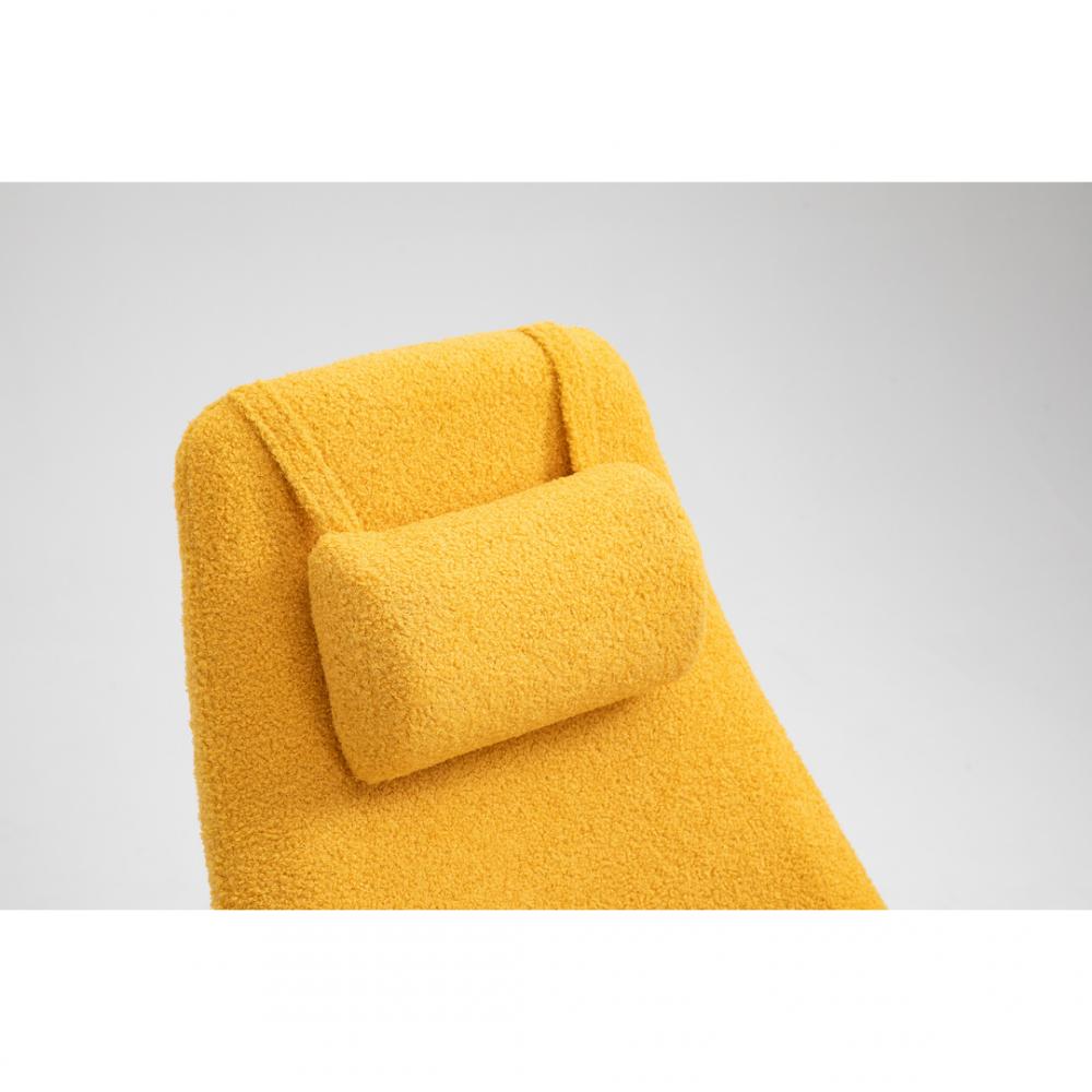 Aemely Schommelstoel Papa mosterd geel kunstschapenstof zwarte poten