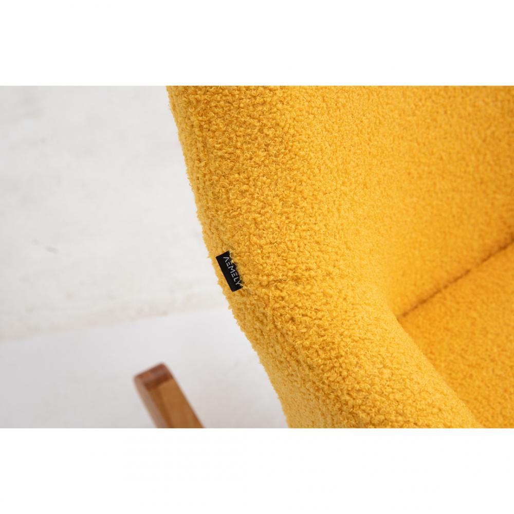 Aemely Schommelstoel Papa mosterd geel kunstschapenstof beuken poten