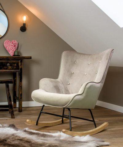 Aemely schommelstoel steerne beige velvet