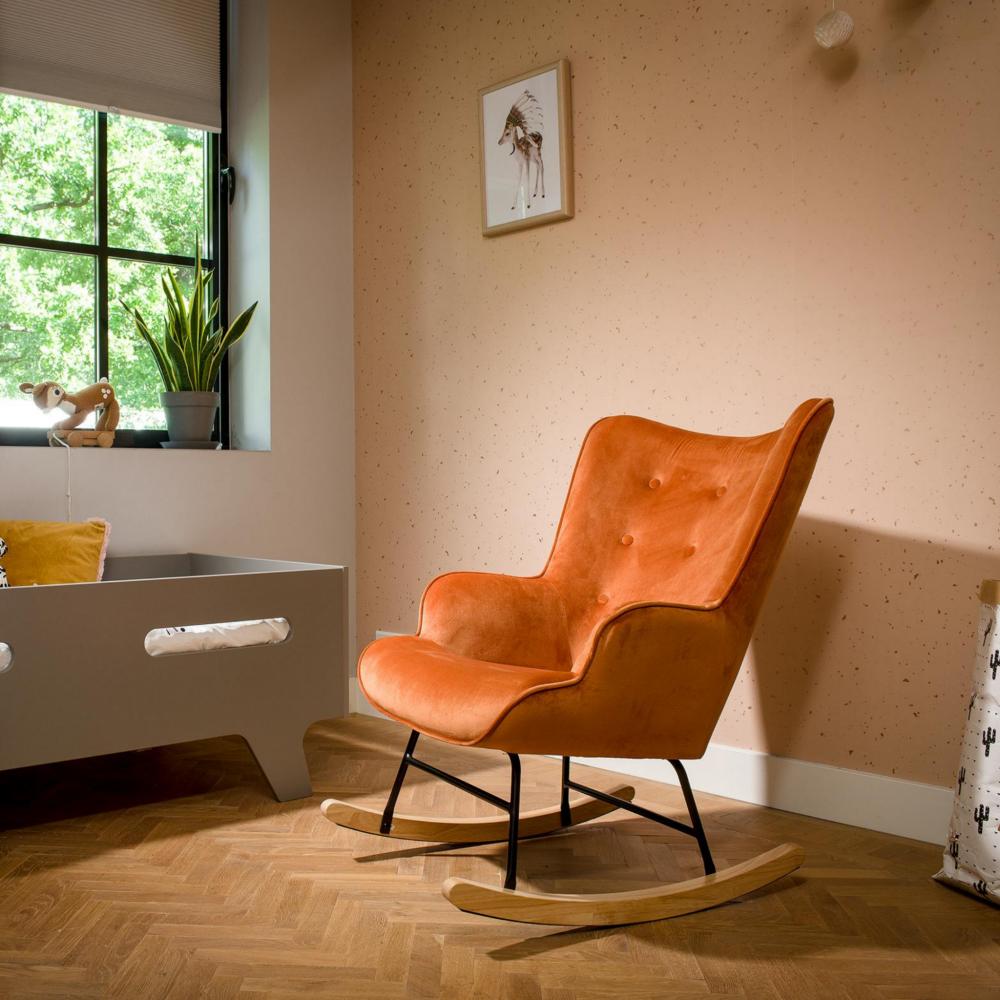 Aemely schommelstoel steerne koper velvet