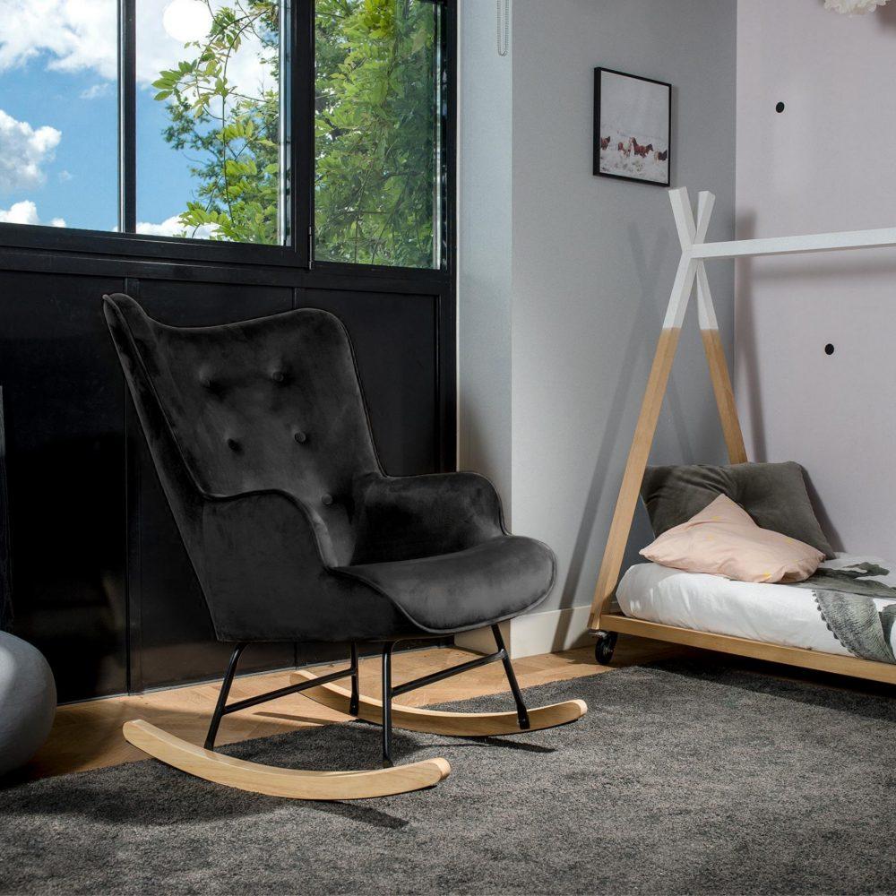Aemely schommelstoel steerne zwart velvet
