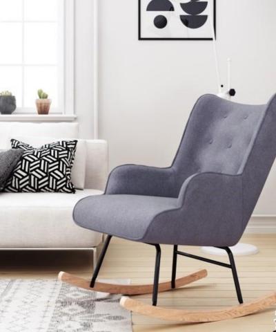 Aemely schommelstoel mama grijs stof