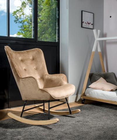 Aemely schommelstoel steerne taupe velvet